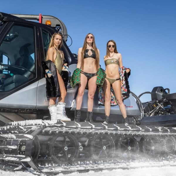 Shooting sulla neve con modelle